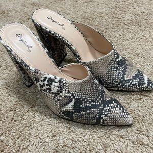 Quipid boutique size 8 mule snakeskin heels